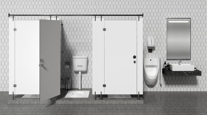 现代公共卫生间 隔断 蹲厕 小便斗 洗手台盆