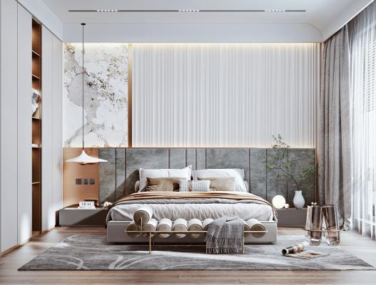 现代轻奢卧室 布艺床 衣柜
