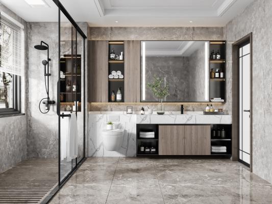 现代卫生间 淋浴房 洗手盆 镜柜 马桶 装饰品