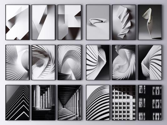 现代建筑艺术装饰画 抽象画 艺术画