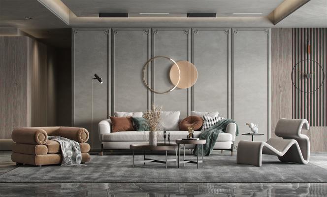 现代客厅 沙发茶几组合 单人休闲椅