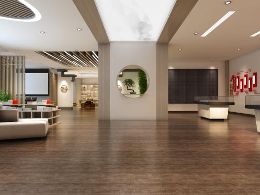 新中式休闲活动中心 书吧 活动室