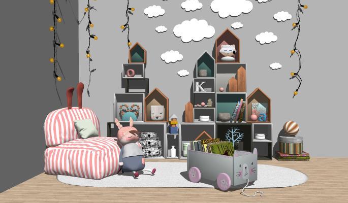 北欧实木儿童柜玩具 儿童沙发 布偶