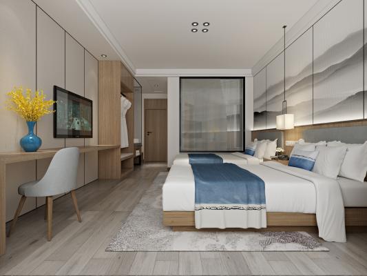 新中式酒店客房 标间 双人间 衣柜 写字台