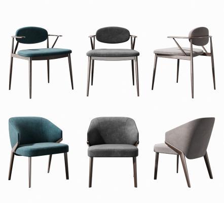 新中式餐椅 单椅组合