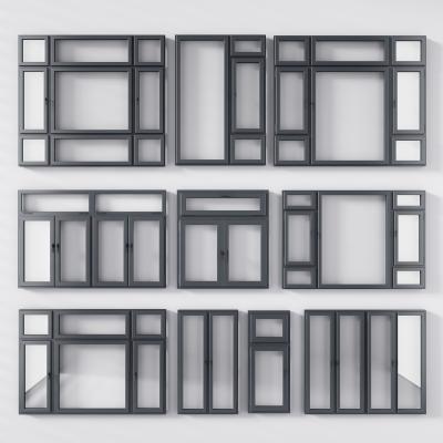 现代铝合金窗组合 窗户 窗框 平开窗 窗 窗口 趟门 移门窗