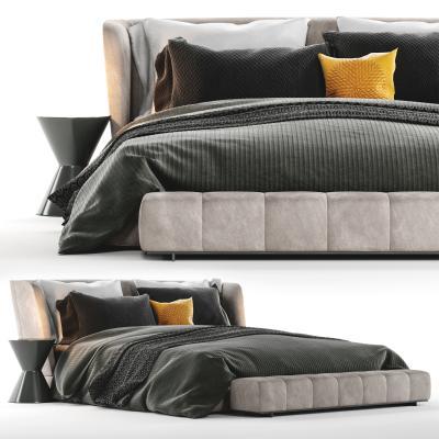 Minotti现代双人床 抱枕 床尾凳