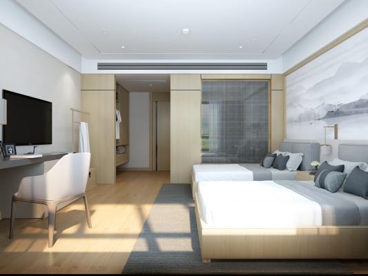 新中式酒店客房 公寓 卧室