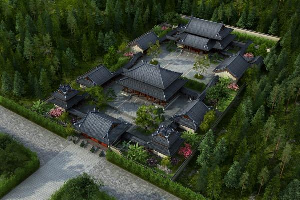中式古建筑寺庙园林景观