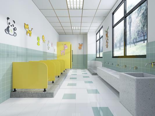 现代幼儿园卫生间 洗手池 蹲坑