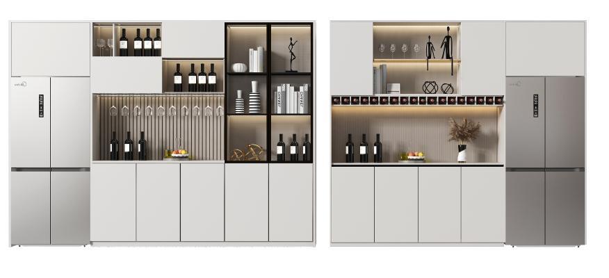 现代 冰箱 酒柜
