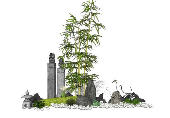 新中式庭院景观 景观小品 石头