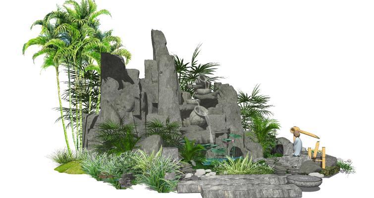 新中式假山叠石 水景 跌水景观 庭院景观小品