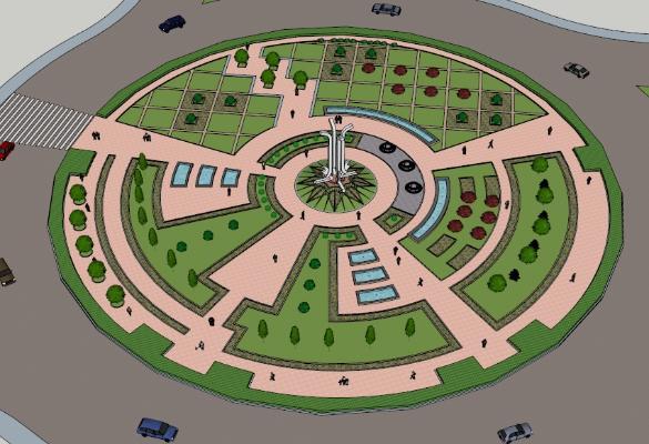 现代圆形广场景观雕塑