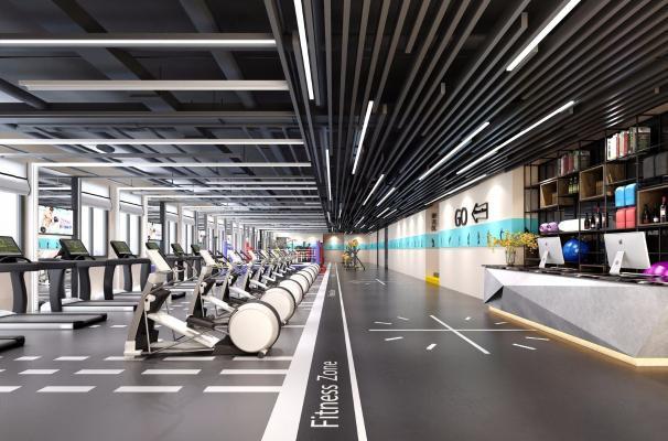 工业风健身房 跑步机