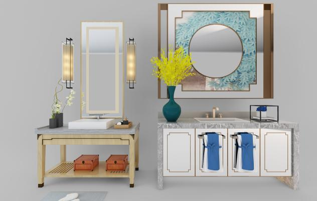 新中式卫浴 浴室柜 坐便器