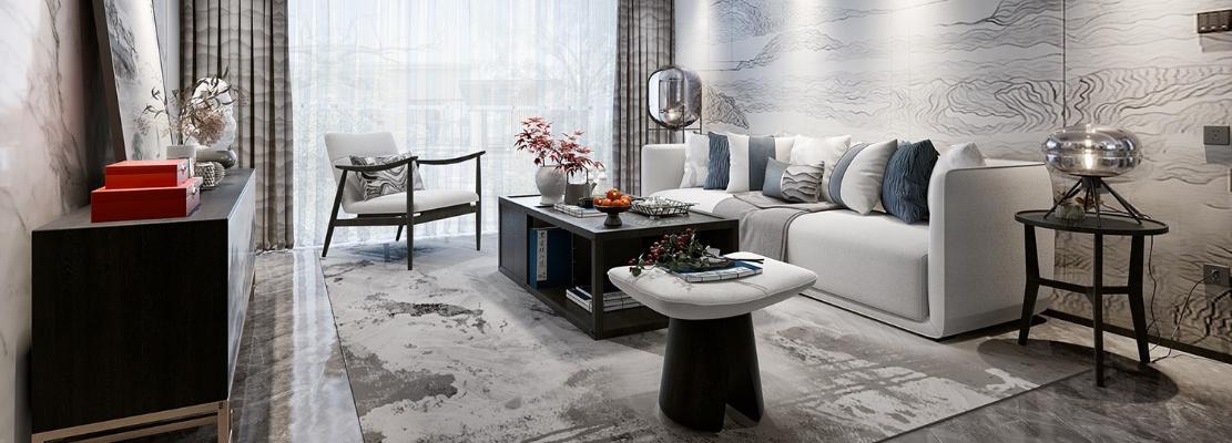 新中式客餐厅 沙发 茶几 地毯 电视背景墙 电视柜 吊灯 窗帘 茶边几