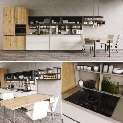 现代橱柜 厨房用品 餐椅
