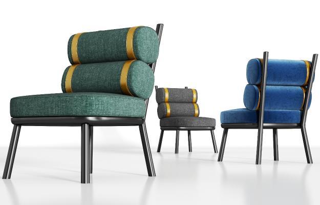 现代金属轻奢绒布单椅组合