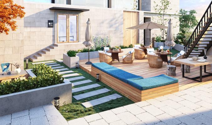 现代别墅中庭花园
