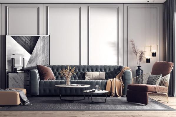 现代轻奢客厅 沙发茶几