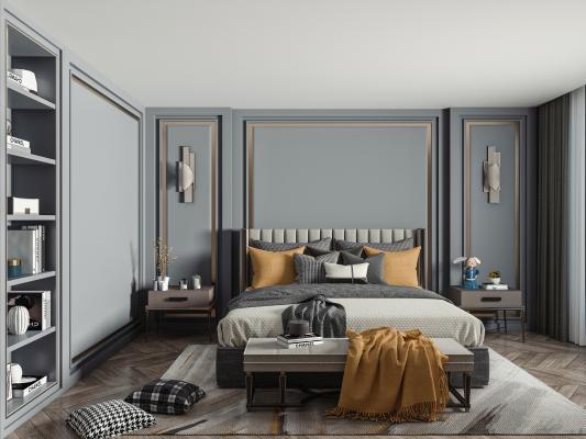 现代轻奢卧室 双人床 床头柜