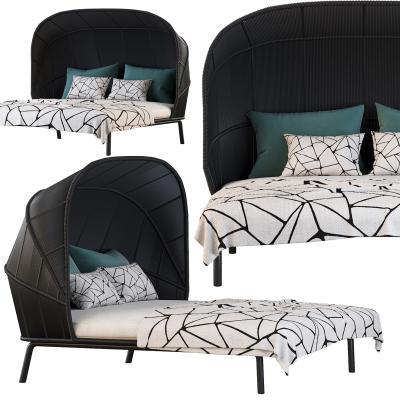 现代双人床 户外床 遮阳床
