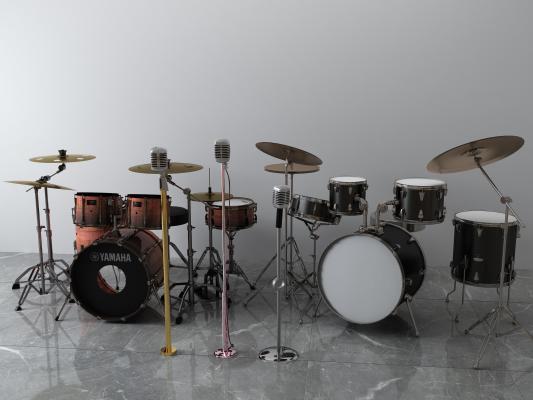 现代乐器 架子鼓 话筒