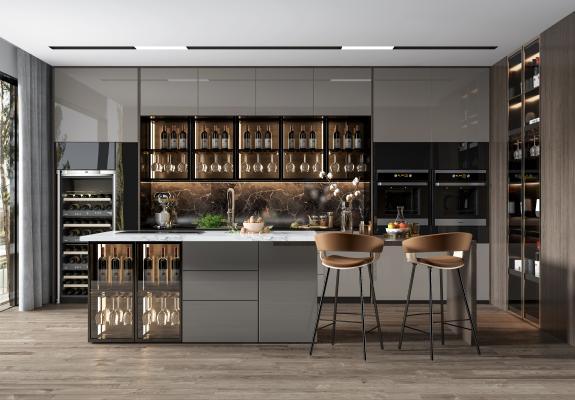 现代厨房 橱柜 消毒柜