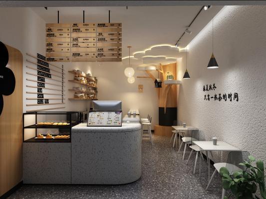 现代奶茶店 甜品店 桌椅组合
