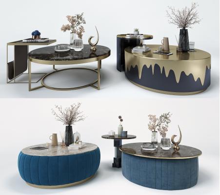 现代轻奢茶几角几摆件 金属镜钢创意茶几边几角几 饰品艺术工艺品