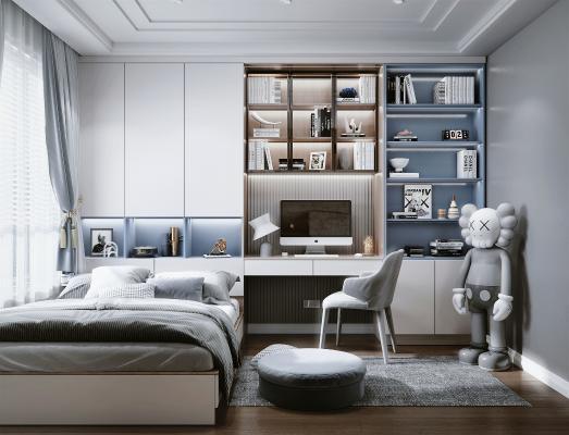 现代风格儿童房 书桌 书柜