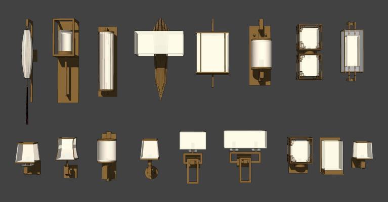 新中式金属壁灯 装饰灯组合