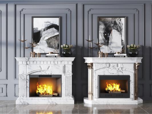 简欧大理石壁炉组合 壁炉 装饰品
