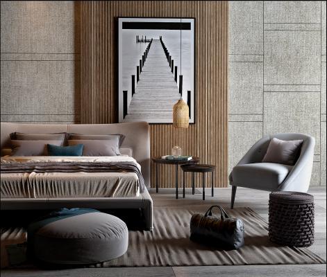 现代双人床 沙发 双人床 单人床