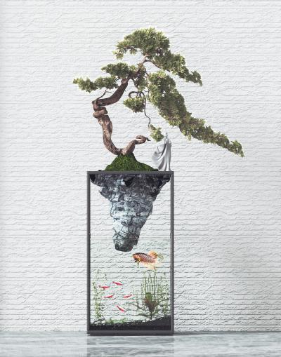 新中式盆栽盆景 鱼缸