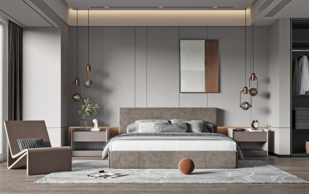 现代家居卧室 双人床 床头柜