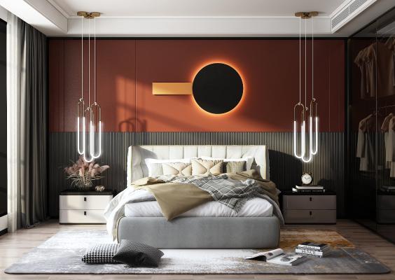 现代轻奢卧室 双人床