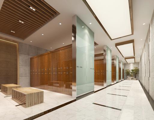 现代洗浴中心更衣区