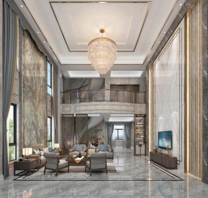 新中式复式客厅 沙发 装饰柜