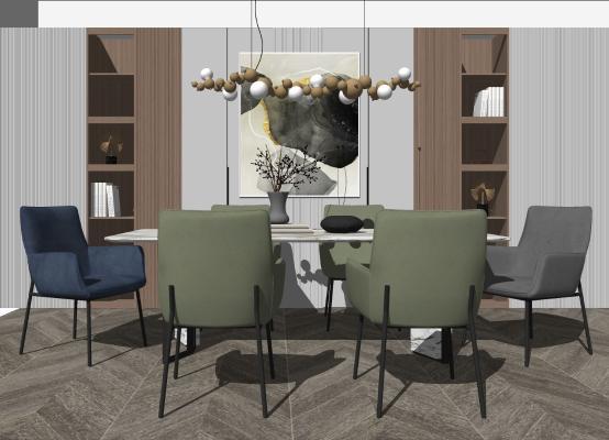 现代轻奢餐桌椅组合 吊灯