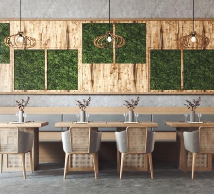 现代餐饮店卡座桌椅组合 藤编餐椅 植物背景墙