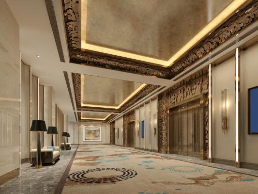 现代酒店电梯过道