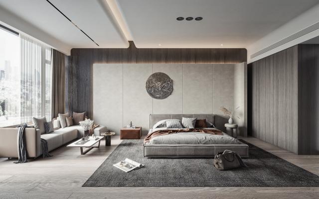 现代主卧室 双人床品组合 转角沙发
