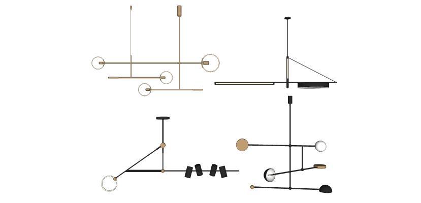 现代极简金属吊灯组合