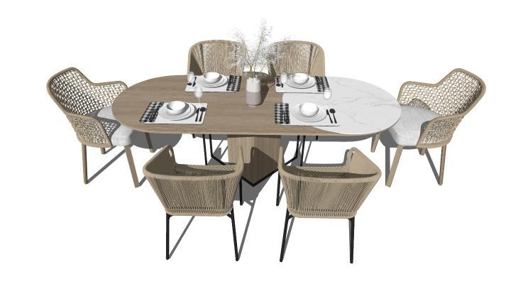 现代风格餐桌椅 户外休闲桌椅 藤编休闲椅
