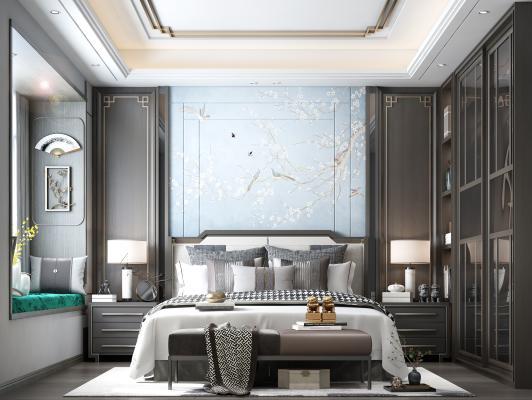新中式卧室 床