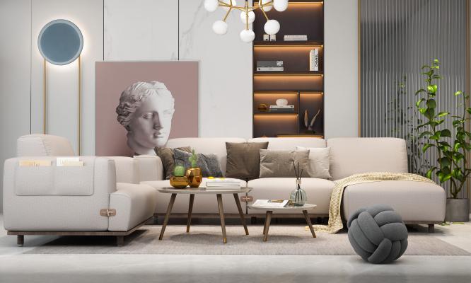 现代简约客厅 沙发茶几组合