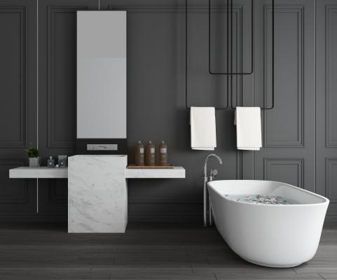 现代大理石浴室柜 洗手台 浴缸组合