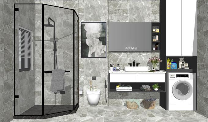 现代家居卫生间马桶淋浴组合